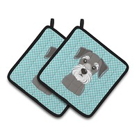 Checkerboard Blue Schnauzer Pair of Pot Holders BB1144PTHD