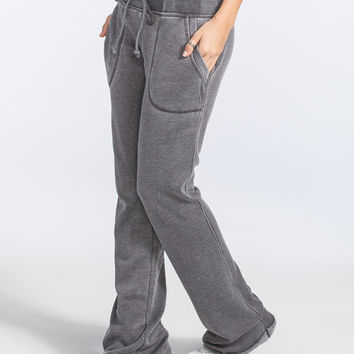 Full Tilt Essential Womens Porkchop Pocket Flare Sweatpants Grey  In Sizes