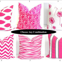 Pink Pillows on SALE.SETS.18x18 inch Decorator Pillow Cover.Printed Fabric Front and Back.Damask.Ikat.Flower.Chevron.Zebra.Stripe