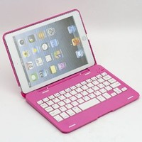 SUPERNIGHT (TM) 135° Rotating Angle Wireless Bluetooth Keyboard Case Cover Stand Combo for Apple iPad Mini Aluminum Pink for Women Girls