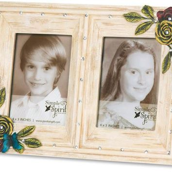 Double Ivory Floral Picture Frame