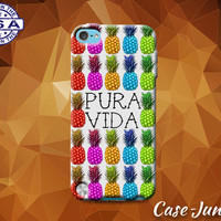 Pura Vida Pure Life Costa Rica Pineapple Pattern Rainbow Custom Case For iPod Tough 4th Generation Gen And iPod Touch 5th Generation Gen