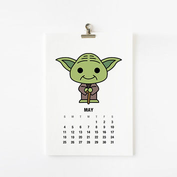 2014 Calendar Cute Star wars 5x7