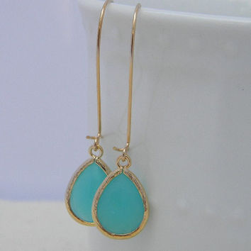 Mint Dangle Earrings-Tiffany Blue Aqua Dangle Earrings - Gold Wrapped Glass Teardrop - Bridesmaids Jewelry-Bridal Jewelry-Wedding Jewelry