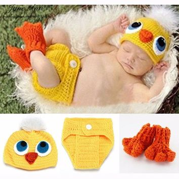 Baby props newborn duck costume cotton yarn hat+diaper cover+socks  handmade photography outfits baby shower gift