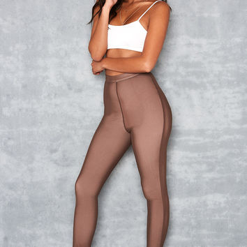 'Waternymph' Chocolate Mesh Overlay Leggings - Mistress Rocks