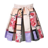Multicolor Plaid Floral Print Bow Front Pleated Skirt