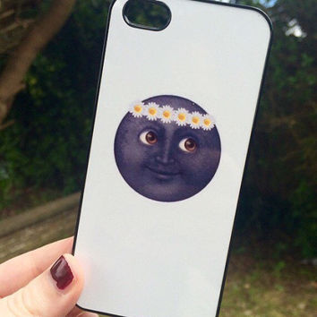 Iphone 5 5S Phone Case Emoji Icons Moon Print Hipster Phone Cover