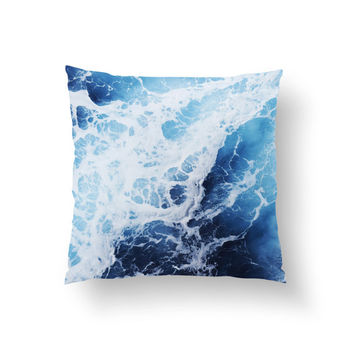 Blue Ocean Surf 2 - Throw Pillow Cover, Coastal Home Decor Accent, Interior Furnishing & Bedding Pillow Throw. 14x14 16x16 18x18 20x20 26x26