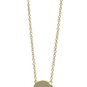 Sterling silver, gold plated disc necklace with micro-pave clear cz diamonds
