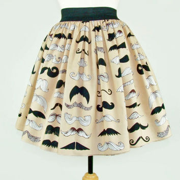 Skirt Mustache Pleated Full Skirt / Moustache Skirt