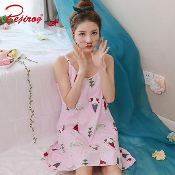 Bejirog Cotton Sleepshirts Sleeveless Sleepwear Sexy Lingerie Pijama Pink Female Nightgown Nightdress Women Nighties Summer Girl