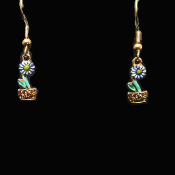 Vintage Little Dangle Earrings - 80s Blue Flower Pot Dangles - Pierced Earwires on Original Card