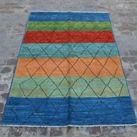 Hand knotted Moroccan tribal gabbeh rug / decorative rug vintage Marrakesh rug/ contemporary rug