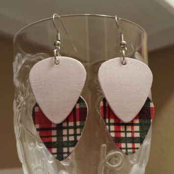 Guitar Pick Earrings -Betsy's Jewlery- Christmas - Holiday - Plaid-  Upcycled Jewelry