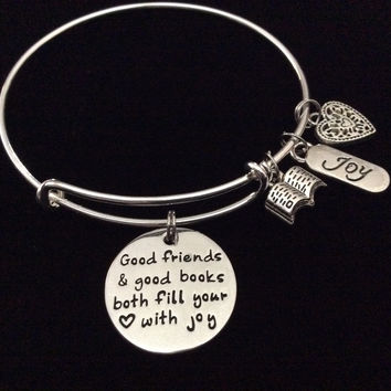 Good Friends and Good Books Both Fill your Heart with Joy Expandable Silver Charm Bracelet Adjustable Bangle Trendy Gift