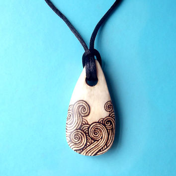 Bone Necklace, Pyrography, Bone Pendant, burned bone, Bone Jewelry, necklace for men, gift for men, witchy pendant, tribal necklace, viking