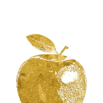 Gold apple -  Printable art , Instant download