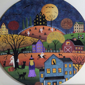 Folk Art Halloween Painting on Wood Plate  - READY TO SHIP - Little Witch and Black Cats, Saltbox Houses, Barn,  Ghost Rider, Full Moon