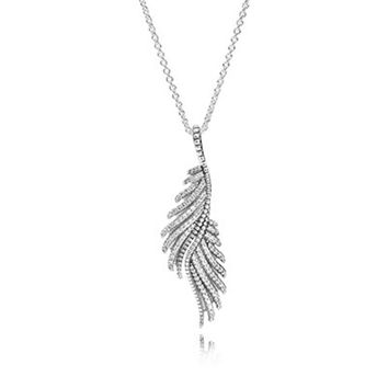 70CM Chain Sterling-Silver-Jewelry  Feather Pave Clear CZ  Pendant Necklace 100%  Silver Compatible with European Jewelry
