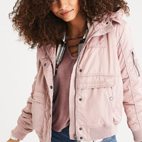 AEO Fleece-Lined Hooder Bomber Jacket, Blush