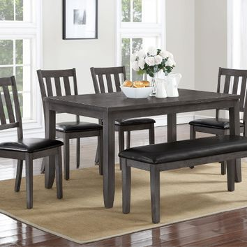 Crown Mark 2361T 6 pc Cosgrove grey wood finish dining table set with vinyl upholstered chairs