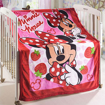 Children Minnie Cartoon Coral Fleece Fabric Blankets Flannel Bedding Article Single Kids Bed Blanket Home Blanket Size140x100cm