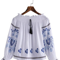 White Off Shoulder Long Sleeve Embroidered Blouse
