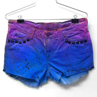 High Waisted Ombre Shorts purple and blue denim jean cutoff studded black women teen