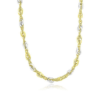 14K Two-Tone Gold Entwined Multi-Textured Chain Necklace