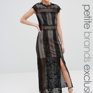 True Decadence Petite Allover Lace Crochet Maxi Dress With Thigh Split at asos.com