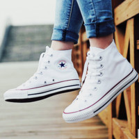 """Converse"" Fashion Canvas Flats Sneakers Sport Shoes Hight top White"