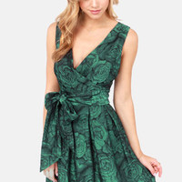 Darling Connie Green Floral Print Brocade Dress