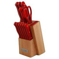 13pc Knife Block Set Red