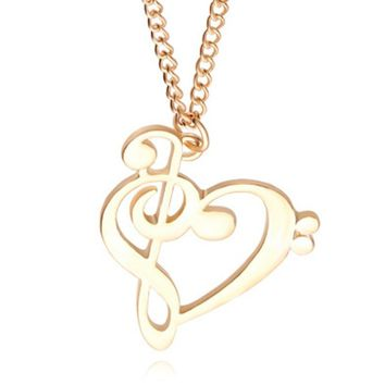 Music Symbol Heart Of Treble And Bass Clefs Infinity Love Charm Pendant Necklaces Unisex Jewelry Free Shipping