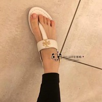 Tory Burch white Women Patent Leather Flip Flops Thong TB Flats Sandals, Female Designer Rubber Sole Miller Loafers Girls Ladies Slippers