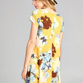 Marigold Floral Swing Tunic Dress With Side Pockets