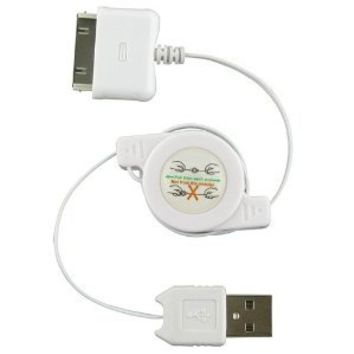 Generic Orion Gadgets Retractable Sync and Charge USB Cable for Apple iPhone 3G - Non-Retail Packaging - White