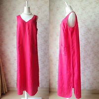 Pure Linen Maxi Tunics. Red Long Tunics. Summer Sleeveless Tunic Dress. Women Clothing Plus Size