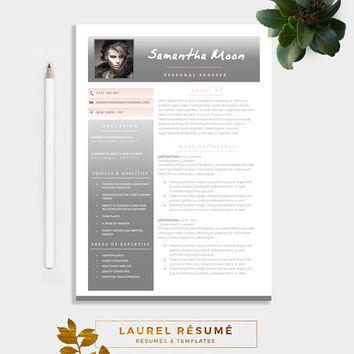 Elegant Résumé Template. 2 Pages Resume + Cover Letter + 1 page References + CV + doc template + photo resume + photo cv + curriculum