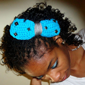 Aqua & Gray Studded Hair Bow- Large