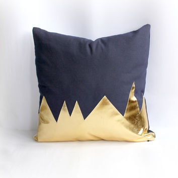 Mountians Navy & Metallic Gold Pillow Cover, Gorgeous home decor navy and metallic gold cushion cover. Throw Pillows Cushions