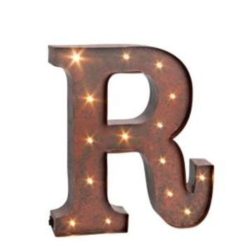 """12 in. H """"R"""" Rustic Brown Metal LED Lighted Letter 92669R at The Home Depot - Mobile"""