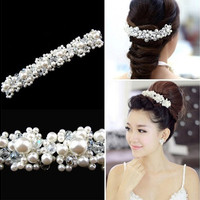 Rhinestone and Imitation Pearl Hairpin Hair Band Headband Bridal Wedding Flower Hair Clips [7982894279]
