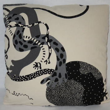 "Black / Cream Floral Pillow, Ikea Fabric, Chrysanthemum, Pomegranite, Funky Lizards A, 18"" Sq. Cotton, Ready Ship, Insert Included"