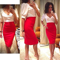 Red Puff Sleeve V-Neck Pencil Midi Dress