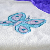 Purple and blue butterfly ultra cuddle fleece baby blanket, Quilted toddler blanket, travel blanket, baby blanket, quilt