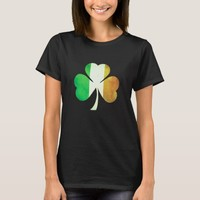 Grungy Three-Leaf Clover in Irish Flag Colors T-Shirt