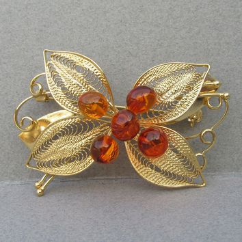 Fine Gold Filled Filigree & Baltic Amber Flower & Bow Vintage Pin