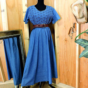 Long denim dress / M / denim maxi dress / long jean dress / prairie dress / loose fit denim dress